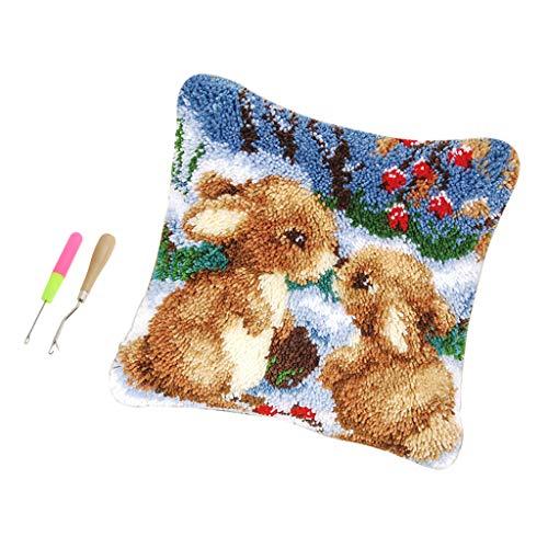 F Fityle 1 Juego de 17x17 Pulgadas Conejos Lindos Kits de Gancho de Pestillo + Gancho de Pestillo Almohada para Hacer Manualidades para Niños Adultos Artesanía