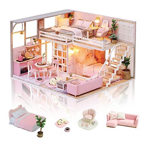 GuDoQi DIY Puppenhaus Miniatur Kit, 3D Hölzernes Puppenhaus Bausatz mit Möbeln und Musik, Handgefertigte Modellbausätze für Frauen und Sammler, Mädchenhaftes Traumzimmer
