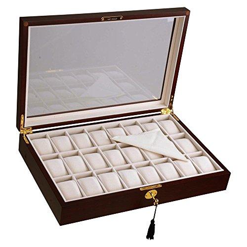 Yescom 24 Slots Wooden Watch Display Case Glass Top Jewelry Pocket Watch Collection Storage Box Organizer Walnut Wood