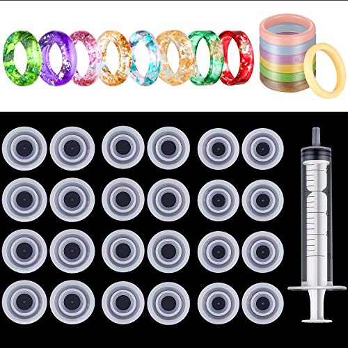 24 Pieces Silicone Ring Mold 3 Sizes Jewelry Casting Molds Resin Epoxy Circle Mould with Syringe for DIY Jewelry Craft Making
