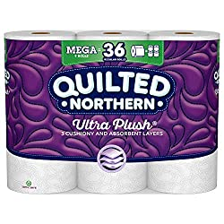 Quilted Northern Ultra Plush Toilet Paper, 9 Mega Rolls, 9 = 36 Regular Rolls