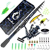 Fishing Rod and Reel Combos, Unique Design with X-Warping Painting, Carbon Fiber Telescopic Fishing...