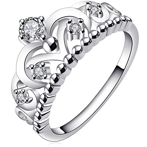 AWLY Women Engagement Wedding Band 925 Sterling Silver Round White CZ Princess Crown Ring Size 11