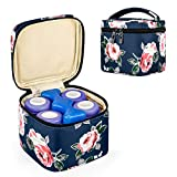 CURMIO Breastmilk Cooler Bag for Four Bottles up to 5 Oz, Insulated Baby Bottle Bag, Perfect for Daycare Travel Nursing Mom, Bag Only, Blue Flowers