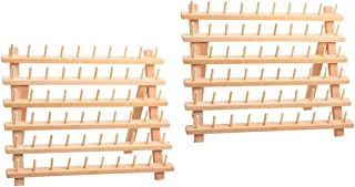2X Unpainted Wooden Thread Holder for 60 Spools and Cones, Wooden Stand, Thread Organiser, Folding Wall Bracket