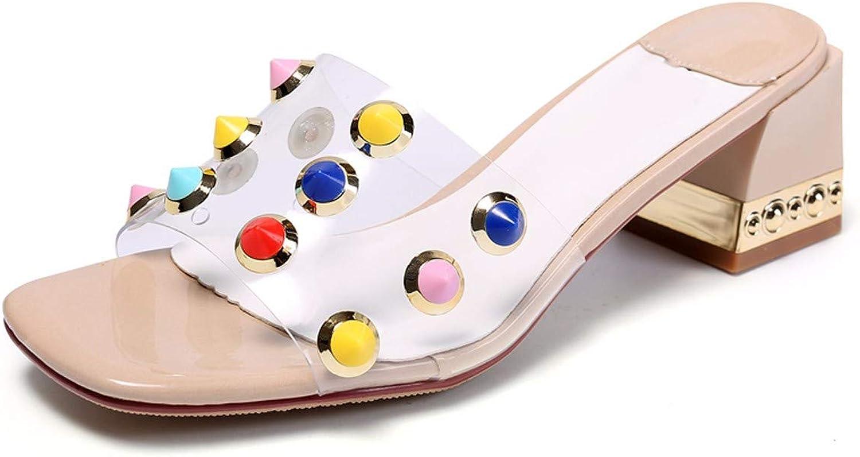 HBDLH Damenschuhe Im Sommer In Rom Geht Zurück Zu Den Alten Zeiten Mit Groben Nieten Transparente Folien Zehen 6 cm High Heels Nacht-Shows und Coole Schuhe.