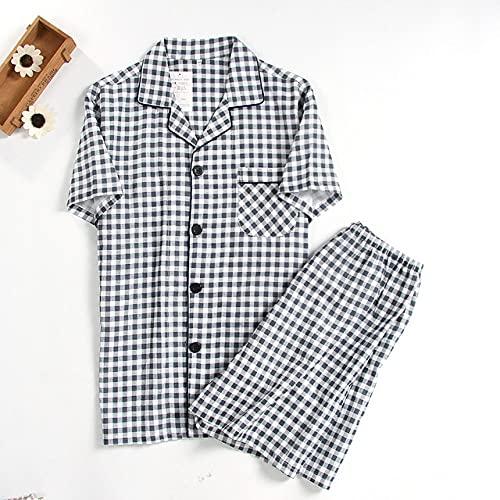 SDCVRE Pijama de Albornoz Pijamas de Gasa Doble de algodón de Verano, Pantalones Cortos de Manga Corta para Hombres, Pijamas para Hombres, celosía, Traje de Pijamas de Servicio a Domicilio de Gran