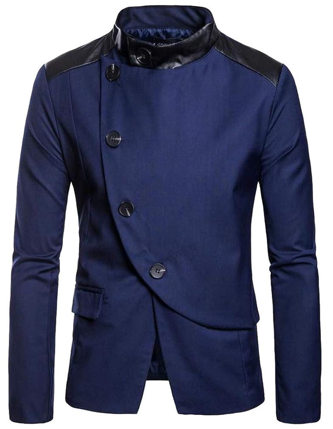 Cromoncent Men's Irregular Stand Collar Button Casual Blazer Coat Jacket