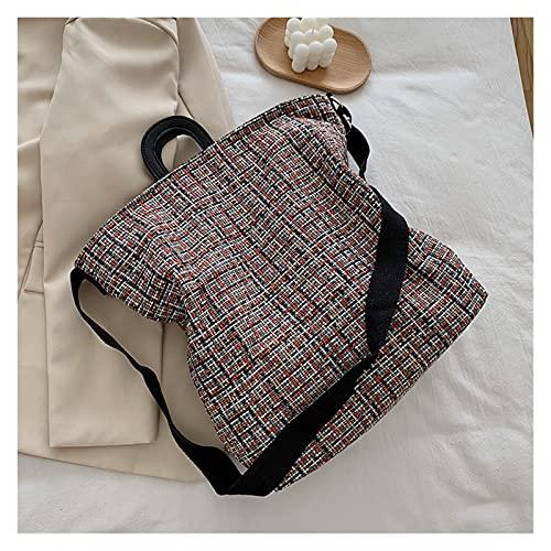 Mjwlgs Flasktorkställning damväska höst vinter mode ull pläd tygväska vintage mjuk dragkedja axelväska handväska hög kapacitet shoppingväska (färg: Röd)