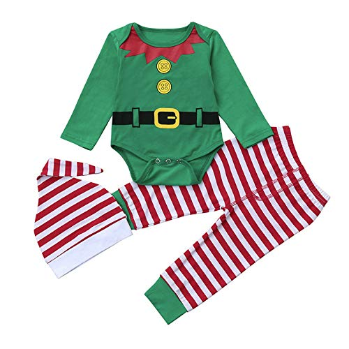 HOUADDY Traje De Elfo de Navidad para Bebé Recién Nacido, Niña, Niño, Niño, Niño, Papá Noel, Mameluco de Manga Larga con Mallas a Rayas, Sombrero 3 Piezas,70cm