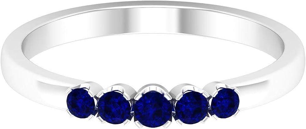 1 4 CT Blue Sapphire Round Ring Shape Gemstone year warranty Band Max 56% OFF
