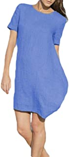 neveraway Women's Lounge Summer Solid Color Linen Short Sleeves Loose Dress