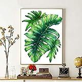 HCDZF Kit de pintura al óleo por número, diseño de hoja de plátano verde, pintura al óleo con pinceles y pigmento acrílico para adultos, principiantes, niñas, niños, 40 x 50 cm (sin marco)