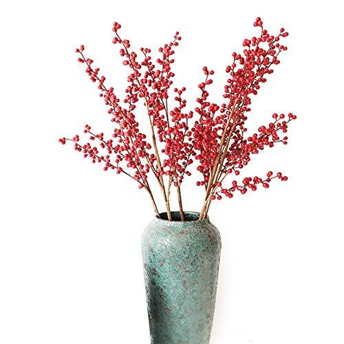 EasyLife 28.3 '' Rama de Bayas de Navidad con Flores Artificiales Rojas, 5 Piezas por Juego, Decoración para Bodas, Decoración del hogar, Decoración navideña