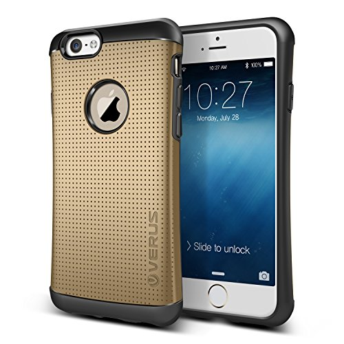 "Verus THOR Heavy Duty Drop Protection Case with Slim Fit Tough Dual Layer Hard Mesh Dot Design Cover for (Apple iPhone 6 4.7"" 2014, Champagne Gold)"