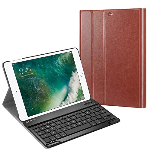 Fintie Keyboard Case for iPad 9.7 2018/2017 / iPad Air 2 / iPad Air - Slim Shell Stand Cover w/Magnetically Detachable Wireless Bluetooth Keyboard for iPad 6th / 5th Gen, Saddle Brown