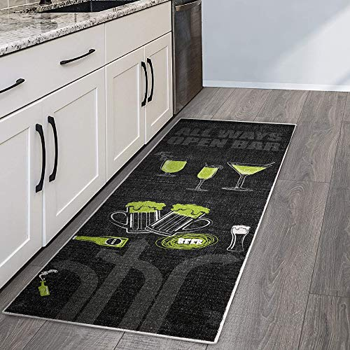 SussexHome Beer Bar Decor Floor Rug - Heavy-Duty Ultra-Thin Beer Cellar Runner Rug - Non Skid Washable 70% Cotton Kitchen Runner Rug and Beer Kitchen Decor - 20 x 59 Inches