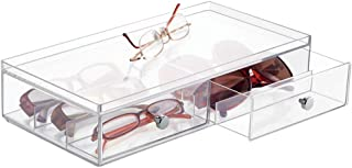 mDesign Wide Stackable Plastic Eye Glass Storage Organizer Box Holder for Sunglasses, Reading Glasses, Accessories - 2 Divided Drawers, Chrome Pulls - Clear