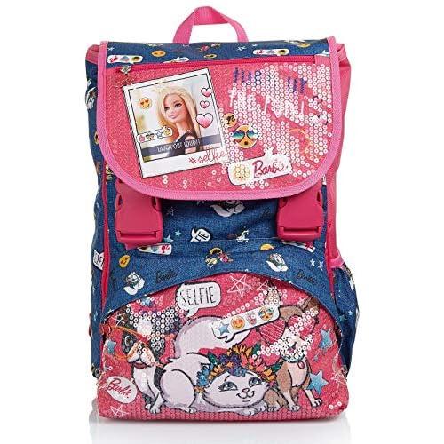 Zaino Estensibile Big Barbie, Power to the Girl, Rosa e Blu, Scuole Elementari e Medie