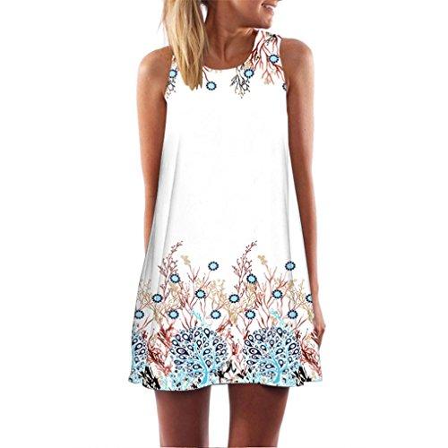 SANFASHION Frauen Mode Sommer Sleeveless Strand Printed Short Mini Dress (M, AWeiß)