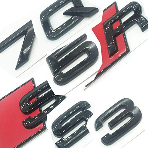 OEM ABS Nameplate compatible for Audi R S Q 3 5 7 SQ SQ3 SQ5 SQ7 RSQ3 RSQ5 RSQ7 Gloss Black Emblem 3D Trunk Logo Badge Compact (RSQ3)