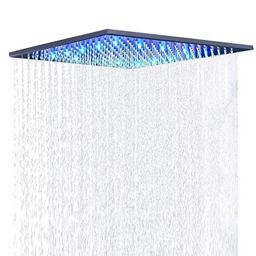 Suguword - Soffione doccia a pioggia, 40 x 40 cm, da incasso, con illuminazione a LED, quadrato