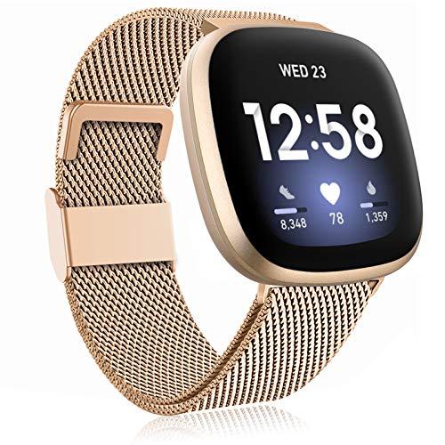 Funbiz Metal Correa Compatible con Fitbit Versa 3/Fitbit Sense Smartwatch, Pulsera de Repuesto de Metal de Acero Inoxidable con Longitud Ajustable para Mujeres Hombres, Grande Oro Real