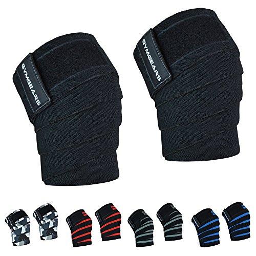 GYMGEARS® Kniebandage [2er Set mit Klettverschluss] Knee Wraps 200cm - Knie Bandagen für Kraftsport, Bodybuilding, Powerlifting, Crossfit & Fitness - Für Frauen & Männer geeignet