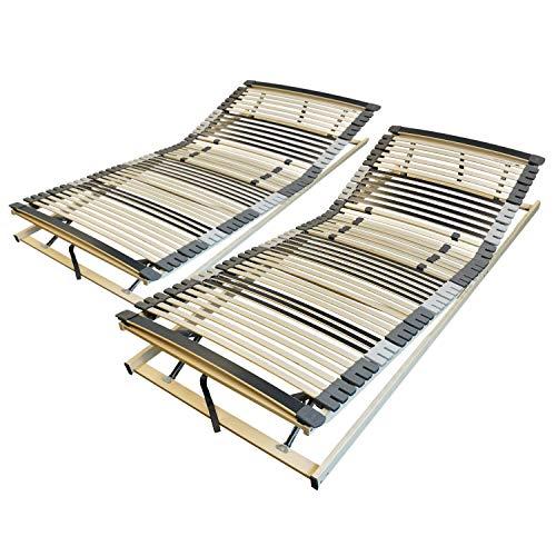 AM Qualitätsmatratzen Ergonomischer 7-Zonen Lattenrost - 180x200 cm - fertig montiert - 44 Leisten - Kopf- und Fußteil verstellbar - Holmabsenkung für Schulter und Becken - 180x200cm