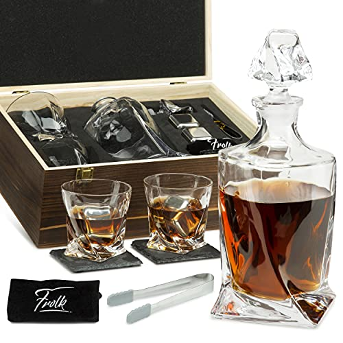 Whiskey Stones Gift Set for Men & Women - Whiskey Decanter, 2 Twisted Whiskey Glasses, 2 XL Stainless Steel Whisky Cubes, 2 Coasters, Silicone-Tipped Tongs & Freezer Pouch in Pinewood Box