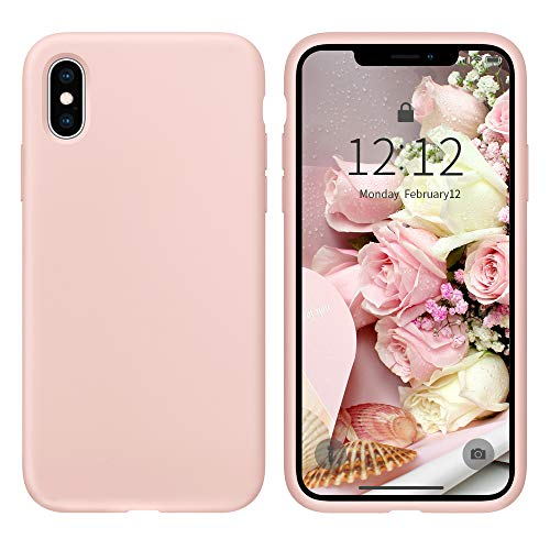 Case for iPhone X/iPhone Xs case Liquid Silicone Gel Rubber Phone Case, iPhone X/iPhone Xs 5.8 Inch Full Body Slim Soft Microfiber Lining Protective Case(Pink Sand)