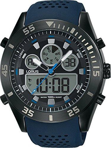 Lorus Sport Herren-Uhr Chronograph Edelstahl und Kunststoff mit Silikonband R2337LX9
