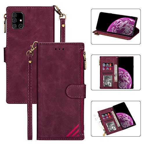 Snow Color Galaxy A41 Hülle, Premium Leder Tasche Flip Wallet Case [Standfunktion] [Kartenfächern] PU-Leder Schutzhülle Brieftasche Handyhülle für Samsung Galaxy A41 - COCSJ030116 Rotwein