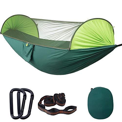 Campinghangmat met klamboe, draagbare nylon dubbele hangmat met boomriemen, karabijnhaken en opbergtas voor binnen, buiten, wandelen