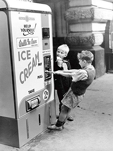 Anonym Walls Ice Cream from Slot Machine, Water Kinder am Eisautomaten Kunstdruck Größe 30x40cm + Wechselrahmen, MDF schwarz Acryl-Scheibe