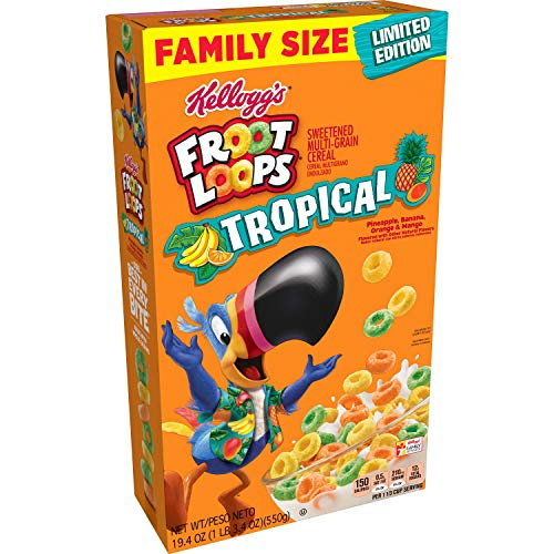 Kellogg's Froot Loops, Breakfast Cereal, Tropical, Family Size, 19.4 Oz ( 1 BOX )