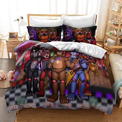 JSYJ 3D Print Five Nights At Freddy's 2/3 Pieces Cartoon Bedding Set, Full Size Bedroom Duvet Cover Set With 2 Pillow Shams, 100% Microfiber With Zipper Closure (Size : Us 264 * 239cm)