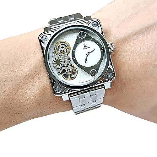 Prasacco Relojes casuales para hombre sin cronógrafo, relojes deportivos de moda para hombre con acero inoxidable, resistente al agua, 30 m de cuarzo para hombre