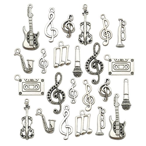 Music Charm Collection-100g Craft Supplies Instrument Music Notes Charms Pendants for Crafting, Jewelry Findings Making Accessory for DIY Necklace Bracelet Earrings (M099)