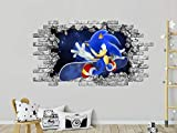 Sonic Wall Sticker, Hole in the Decal, Sonic Space Wall Murals, Sonic Game Room Nursery Bedroom Decor PS157