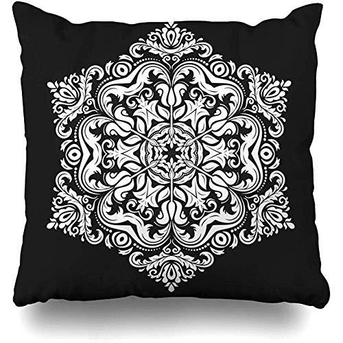 Fodera per cuscino di tiro Insolito motivo floreale damascato nero Orientale astratto allacciato indonesiano Paisley Arabesque Cuscino barocco Federa Decorazioni per la casa Design quadrato Dimensioni 50x50cm (20In)