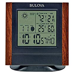 Bulova Forecaster Versatile Tabletop Clock, Brown & Black