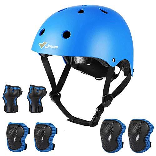 Joncom Kids Bike Helmet Toddler Helmet 3-8 Years Sport Protective Gear Set Boy Girl Adjustable Child Cycling Helmet with Knee Pads Elbow Pads Wrist Guards Youth Skateboard Helmet CPSC Certified