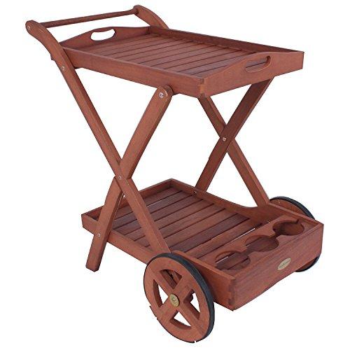 nxtbuy Teewagen Toledo mit 2 Etagen aus Holz fahrbar mit abnehmbaren Tablett und Flaschenhalterungen robuster Servierwagen mit Rädern und geölter Oberfläche