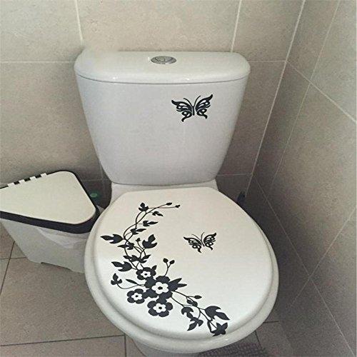 Décoratif Papillon Fleur Vigne Salle de Bains Vinyle Stickers muraux décoration Stickers muraux pour Autocollant de Toilette, 34x28cm, Noir