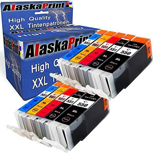 Alaskaprint 10x kompatible Tintenpatronen als Ersatz für Canon PGI-550 XL CLI-551 XL mit Canon Pixma MG5400 Series MG5450 MG5550 MG5650 MG6450 MG6650 MX725 MX925 IX6850 IP7250