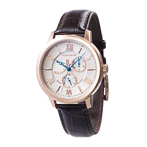 Thomas Earnshaw Cornwell Sweep Second Retrograde ES-8060-03 herenhorloge met kwartsuurwerk, zilveren wijzerplaat met klassieke analoge weergave, bruin lederen armband