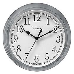 Nyl Holdings Llc 46984 Westclock Quartz Movement Round Wall Clock 9, Silver