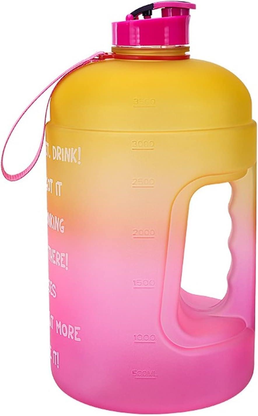 WYGOAKG Botella de agua de 3,78 l con paja de 1 galón de gran gradiente color cubo fitness deportes al aire libre accesorio