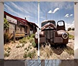 Cortinas americanas, restaurante abandonado en la ruta 66, señal de entrada, Desert Road, coche viejo oxidado, sala de estar, dormitorio, cortinas para ventanas, juego de 2 paneles, marrón multicolor